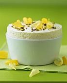 Lemon and lime mousse soufflé with pistachios