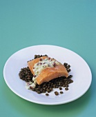 Salmon with chervil crème fraîche & pink pepper on Puy lentils