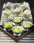 Pineapple sorbet and orange cream in dishes