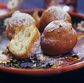Deep-fried quark balls with icing sugar