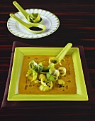 Curried lentil soup with Brussels sprouts