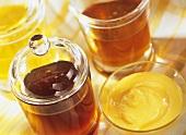 Various types of honey in jars