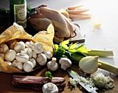 Ingredients for coq au vin (still life)