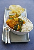 Lentil and vegetable curry with ginger yoghurt and rice