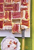 Rhubarb cake with strawberry quark