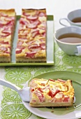 Tray-baked rhubarb cake with tea