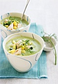 Cream of courgette soup with salmon trout