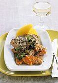 Loin of veal with mustard crust, carrots and potatoes