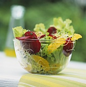 Lettuce with beetroot, sprouts and orange segments