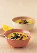 Swede and orange soup with honey and pumpernickel