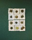 Twelve different sorts of green tea