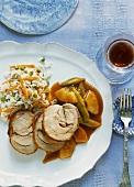 Roast turkey leg joint with pineapple sauce and rice