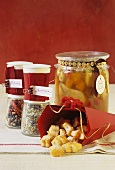 Cheesy nibbles, bottled fruit and spice mixtures to give as gifts