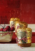 Panettone and marzipan cherries to give as gifts