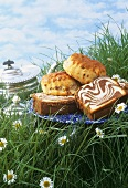 Marble cake and scones in grass against blue sky
