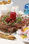 Christmas arrangement with cherries