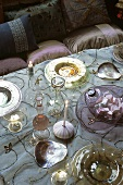 Festive table with glassware