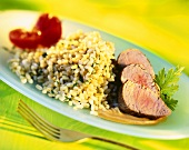 Beef fillet with barley
