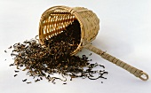 Bamboo tea strainer with tea leaves