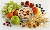 Wholefood: muesli, fruit, nuts, cereal