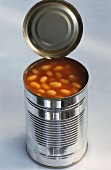 Opened tin of beans