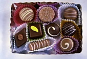 Box of assorted chocolates in paper cases