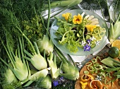Salad leaves with fennel, pear, cucumber and borage flowers
