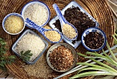 Various sorts of rice in dishes and on spoons