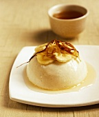 Banana cream with caramel sauce