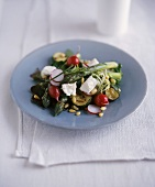 Asparagus, courgette and radish salad with feta
