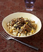 Lamb ragout in couscous with chick-peas