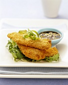 Chicken breasts in cornflake crust with soy sauce