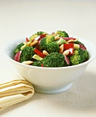 A bowl of broccoli with chilli and almonds
