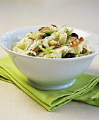 White cabbage with bacon, feta and olives