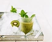 Kiwi fruit and Aloe vera shake with mint on ice