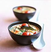 Congee with tomatoes and Thai basil (Rice porridge, China)