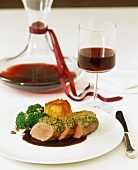 Christmas saddle of lamb with a pistachio nut crust