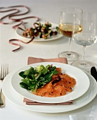 Marinated Christmas salmon with a mixed leaf salad