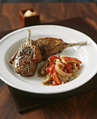 Fried lamb chops with pepper vegetables