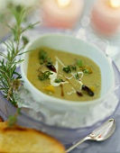 Cream of vegetable soup with fresh herbs