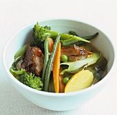Vegetable soup with duck