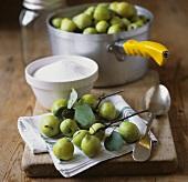 Holzäpfel und Zucker zur Herstellung von Gelee