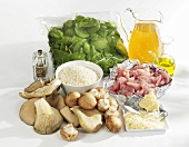 Ingredients for mushroom and spinach risotto