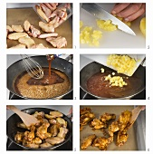 Making baked chicken wings with pineapple sauce