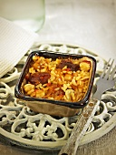 Arroz al horno (oven baked rice, Spain) with chorizo and chickpeas