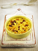 Arroz al horno (oven baked rice, Spain) with chickpeas and raisins