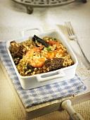 Arroz meloso (fried rice, Spain) with morels and king prawns