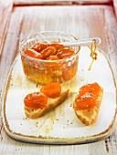 Preserved kumquats on bread