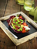 Pea salad with strawberries