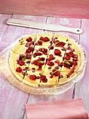 Raspberry tart with cream cheese